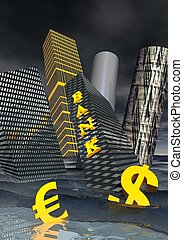 Financial crisis - Bank building and financial skyscrapers...