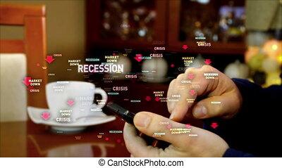 Financial crisis buzzwords over smart phone in hand