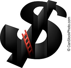 Financial crisis concept design, background is white.