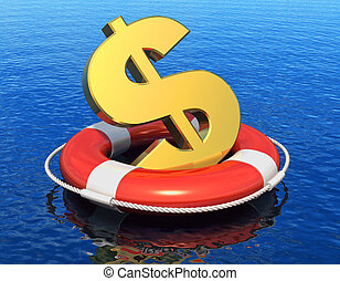 Financial crisis concept: golden dollar symbol in lifesaver...