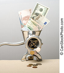 Financial crisis. - Denominations dollars and euro in an old...