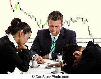 Disappointed businesspeople in financial crisis.