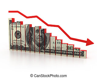 financial crisis, dollar diagram 3d illustration