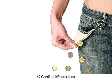 Financial crisis. - Financial crisis concept. Empty pocket...