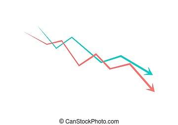 Financial crisis graph icon simple design