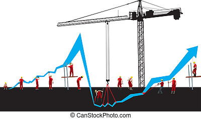 Vector Financial crisis and recover graph with construction workers and Hoisting crane