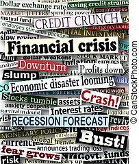 Financial crisis headlines - Background design of newspaper ...