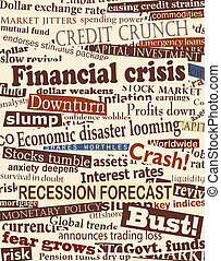 Financial crisis headlines - Background editable vector...