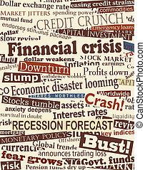 Financial crisis headlines - Background editable vector...