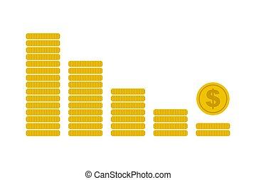 Financial crisis icon coins graph