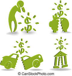 Financial Crisis Icon Set - Print