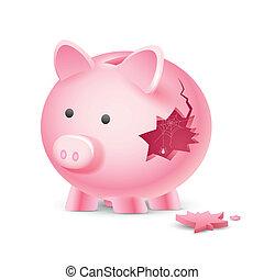 Financial Crisis - illustration of broken piggy bank with ...