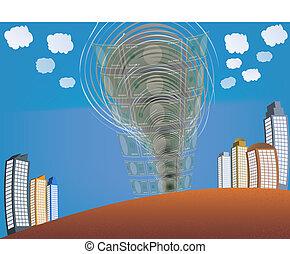 financial crisis illustration with tornado absorbing money