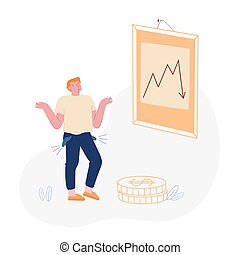 Financial Crisis, Risk and Depreciation Concept. Depressed Business Man with Empty Turned Out Pockets Look at Falling Down Arrow. Investor Lose Money on Stock Market. Cartoon Flat Vector Illustration