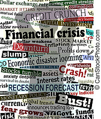 Background editable vector design of economic headlines with man's shadow holding his head in despair