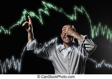 Financial crisis - Scared trader pointing to stock market...