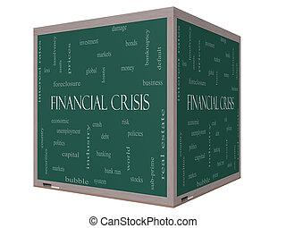 Financial Crisis Word Cloud Concept on a 3D cube Blackboard