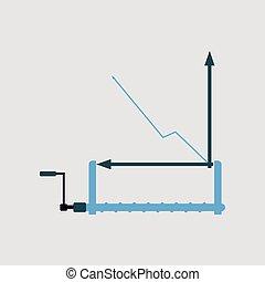 Financial data graph chart, vector illustration. Trend...
