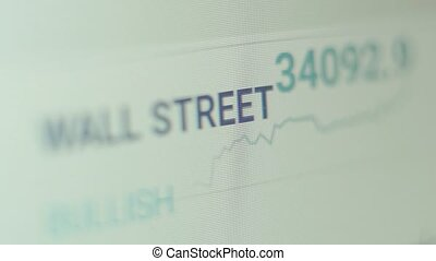 Financial data in the form of digital prices on a laptop monitor display. Wall Street data online.