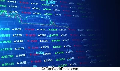 Financial data of stock market or stock exchange Animation.