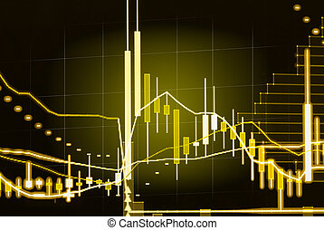 Financial data on a monitor, candle stick graph of stock market , stock market data on LED display concept