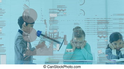 Animation of financial data processing over schoolchildren working in an office together, boy shouting through megaphone. Education business economy interface concept digital composite.