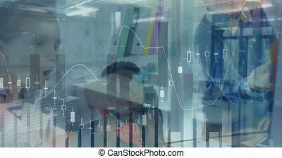 Animation of financial data processing over schoolchildren working together in an office using phone, pointing. Education business network interface concept digital composite.