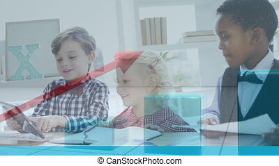 Animation of financial data processing over schoolchildren working in an office together. Education business economy interface concept digital composite.