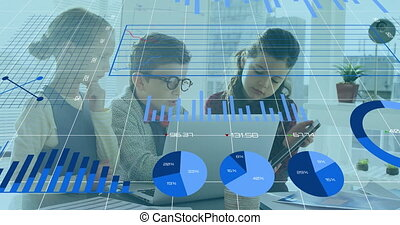 Animation of financial data processing over schoolchildren working together in an office using laptop. Education business social media network interface concept digital composite.