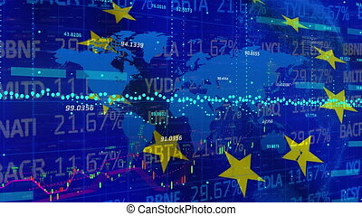 Digital composite video of Stock market and Financial data processing over waving EU flag against EU map. Global economy stock market concept