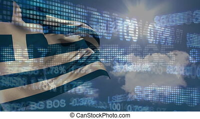 Digital composite video of financial data processing against Greece flag waving. Global economy stock market concept