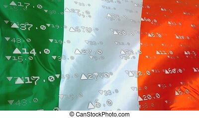 Digital composite video of financial data processing against Irish flag waving. Global economy stock market concept