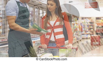 Animation of woman shopping in grocery store with shopping trolley, male shop assistant advising and financial data processing. Global finance and shopping concept digital composite.