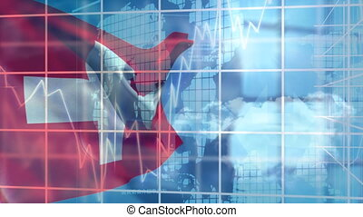 Digital composite video of financial data processing against Switzerland flag waving. Global economy stock market concept