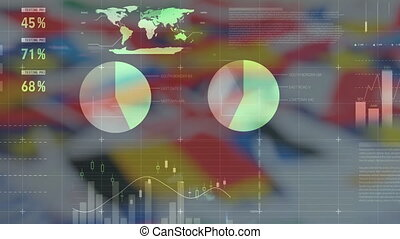 Digital composite video of financial data processing against various national flags waving. Global economy stock market concept