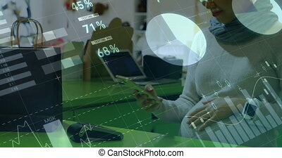 Financial data processing against woman using smartphone