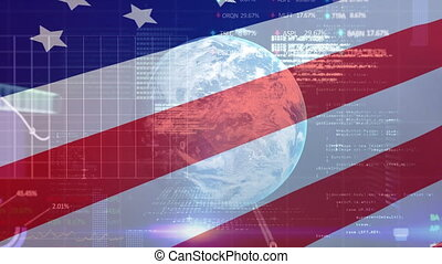 Financial data processing and globe against American flag waving