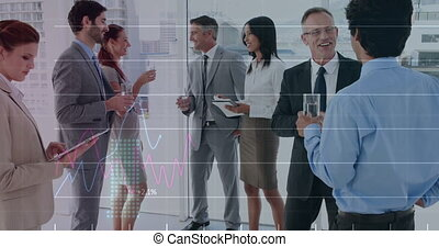 Animation of financial data processing over businesspeople talking at meeting in the background. Global finance business interface concept digitally generated image.