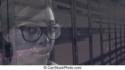 Financial data processing over portrait of woman against server room