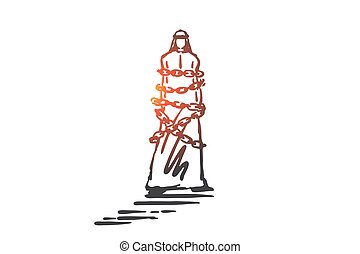 Financial debt, obligation concept sketch. Business restriction, freedom restrain, mortgage loan, credit slavery metaphor, arab businessman, muslim man bound by metal chain. Hand drawn isolated vector