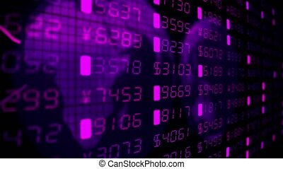 Financial diagrams tickers numbers business data money stock market trade