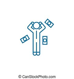 Financial difficulties linear icon concept. Financial difficulties line vector sign, symbol, illustration.