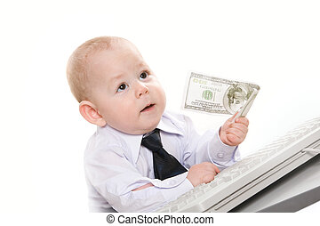 Financial director - Portrait of serious baby boy giving...