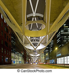 Financial District - An elevated tram tube running through...