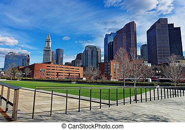 Financial District at North End Park of Boston USA