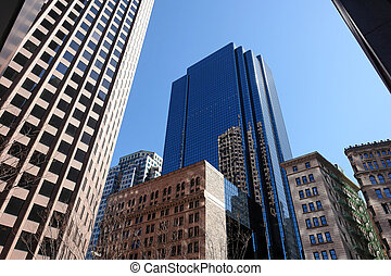 wide angle perspective of boston's financial district, downtown boston