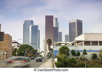 Financial District in Los Angeles, CA - Entrance to...
