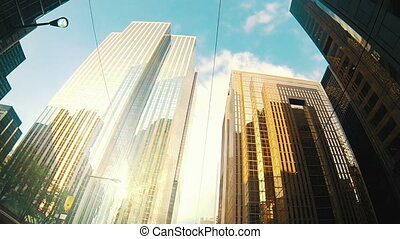 Financial district of a large city. - Financial district of...