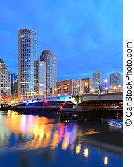 Boston Harbor - Financial District of Boston, Massachusetts...