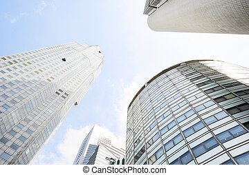 Office buildings in Singapore in the sunshine day